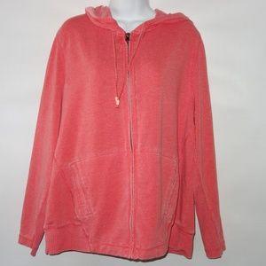 GreenTea Zip Hoodie Sweatshirt Women 2XL Orange